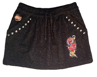 Girl's black sparkle skirt Size 5-6 Sublime patch Studded girls skirt Band clothes Girl clothes Cool kid clothes Toddler girl clothes Kids