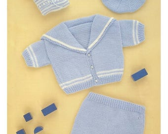 Baby Sailor Suit to Knit includes jacket pants beret and toy boot instant download knitting pattern