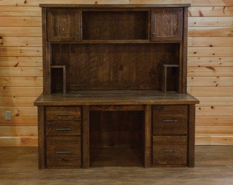 Barn Wood Style Rustic Timber Peg Executive Desk with Hutch - Amish Made in the USA - Model# WWR03-020TP - Free Shipping!