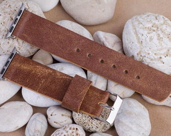 Apple watch band 38 mm, 125 / 75mm, Brown color, leather from old bag, handmade, with buckle and connector in silver color