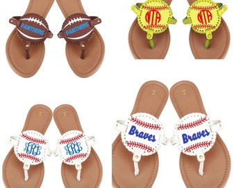 Monogrammed Baseball flip flops ~ Softball shoes ~ baseball shoes~ football shoes ~ sports sandals