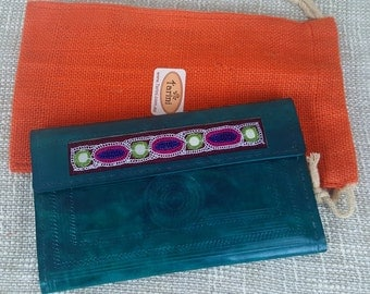 Handmade genuine leather clutch sea green # credit card wallet for women # Monedero de Mujer # iPhone wallet # Christmas gift for teens