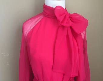 Vintage Hot Pink Mollie Parnis New York Chiffon Party Dress with belt