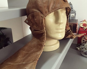 Leather Aviator Cap. Vintage style 30's 40's leather pilot's helmet. Genuine Leather Aviator. Bomber Cap. Classic Motorcycle Cap