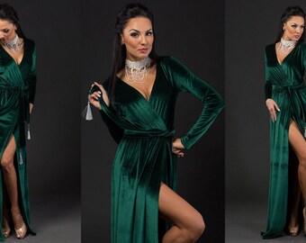 Emerald velvet maxi Dress • Bordo Cocktail dress • Prom dress • Green dress robe•  Bridesmaid dress • Holliday dress