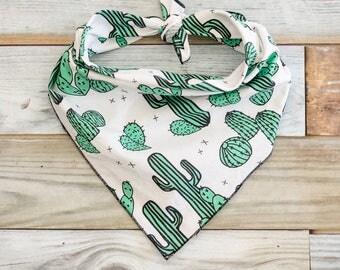 Cactus Dog Bandana, Green Cactus Dog Bandana, Cactus Bandana, Tie On Bandana