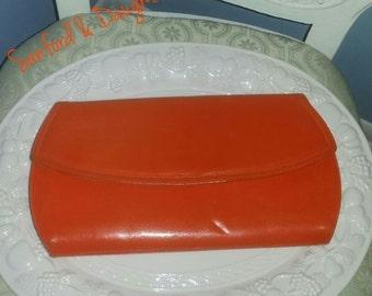 Sale** Vintage Leather Orange Clutch Purse
