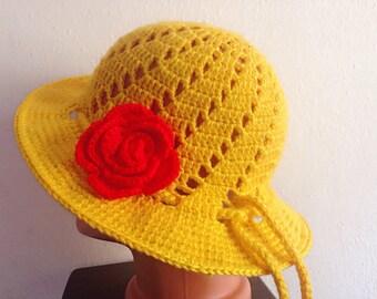 Big Girl's crochet summer hat, Girls Sunhat, Crocheted hats summer, Adult sunhat hat- summer hat- handmade gift,free shipping