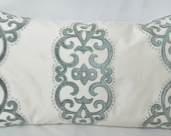Fabricut Grier Medallion in Seamist  Designer Decorative Pillow, Lumbar Pillow Cover / Embroidered/Velvet Applique Pattern