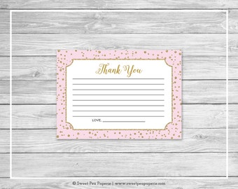 Pink and Gold Baby Shower Thank You Cards - Printable Baby Shower Thank You Cards - Pink and Gold Baby Shower - Thank You Cards - SP145