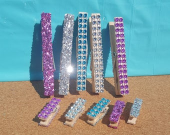 Glitter Clothespins, Decorated Clothespins, Pink Clothespins, Blue Clothespins, Silver Clothes Pins, Baby Shower Clothespins, Bridal Shower
