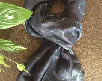 Handmade silk Scarf, Shibori Silk Scarf, Natural Dyed Scarf