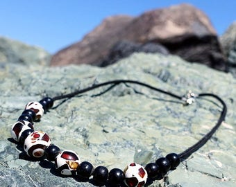 Baltic Amber Necklace, Amber Mosaic Necklace, Beaded Necklace, Amber And Waxed Cotton Cord