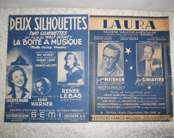 French song sheets and partitions Laura and Deux silhouettes  - chansons anciennes et partitions de musique