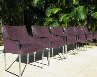 Set Of Six Mid-Century Modern Chrome Dining Room Chairs All Arms With Purple Upholstery, In The Manner Of Milo Baughman.