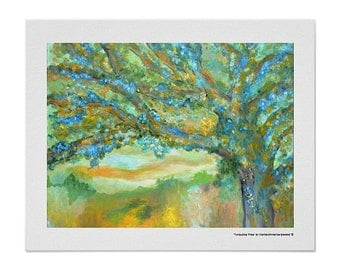 Tree art print, original landscape painting, nature tree French country decor, green landscape painting, blue green tree art print signed