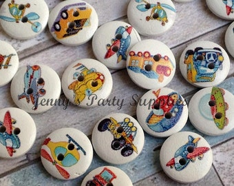 12 Transportation Buttons, Plane Sewing Buttons, Helicopter Sewing Buttons, Sew On Wooden Buttons, Childrens Buttons
