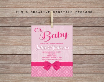 Pink Bow Baby Shower Invitation