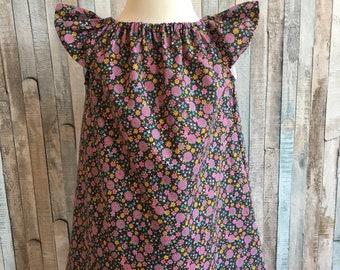 Baby girls flower dress~Size 18 to 24 mth~Baby girls dress~Baby girls summer dress~Girls cotton lawn dress~Baby floral dress-Flower dress