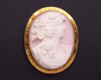 Vintage 10k Yellow Gold Carved Coral Cameo Woman Portrait Flower Brooch Pin Pendant