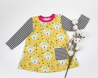 Organic Baby Dress,Organic Toddler Dress,Winter Dress,Long Sleeves Dress,Leopard Gold Jersey,Elvelyckan Design