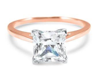 14k Rose Gold Cathedral Forever ONE square princess cut moissanite solitaire engagement ring 4 prong dome ring