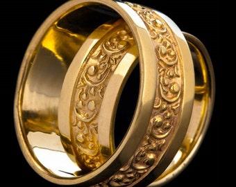 Motif Gold Wedding Bands, 14K Yellow Gold Wedding Bands, Gold Wedding Ring Set, Romeo, Zehava Jewelry