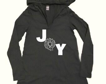 Joy, Women's Gray hooded Christmas Shirt