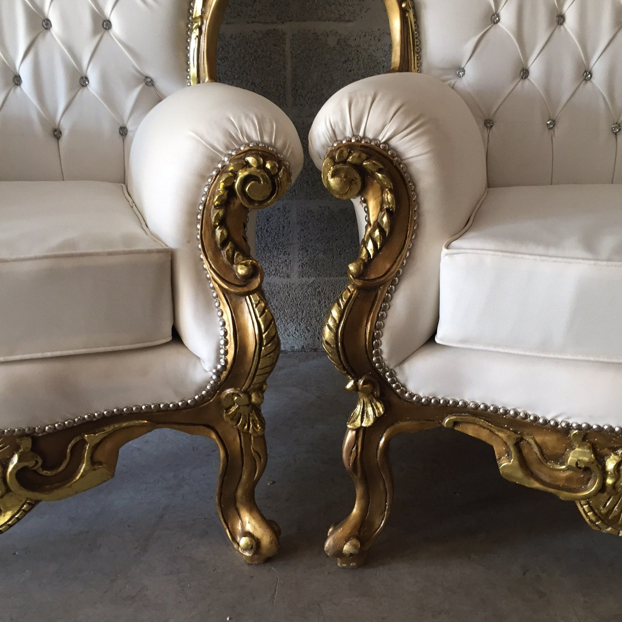 Pics photos rococo style chair sofa rococo - Rococo Furniture Settee Chair 3 Piece Available Antique Italian Throne Bergere Sofa Gold Leaf White Leather Tufted Settee Baroque Louis Xvi