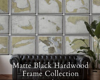 Matte Black Hardwood Frame Collection : Nautical Maps - Framed and Finished