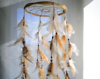 Nursery mobile baby mobile dream catcher mobile rustic tribal nursery dreamcatcher crib mobile peach white natural gray feather mobile