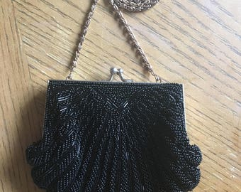 Black wedding purse with beads, shell shaped purse, evening purse