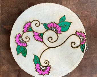 Henna Tambourine Awesome Pink Candy Flower Hand Painted Bridesmaid Gift