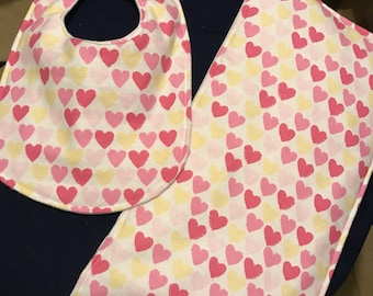 Baby Bib with Matching Burp Cloth -  Pink Hearts