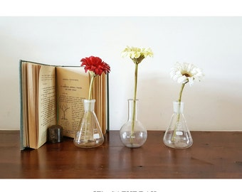 3 Old Bottles/glass ampoules of a LAB Chemist | Three Old Chemical Glass Bottles/Jar, good for flowers (plants)