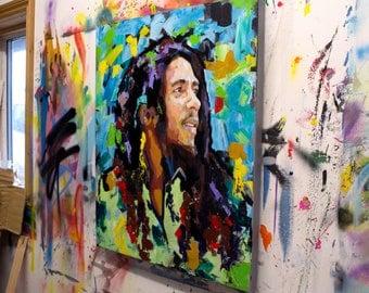 "Bob Marley, Original Oil Painting, 40"", 30"", Portrait, Large, Wall, Art, Canvas, Abstract, Palette knife, Music, Reggae, Worldwide Shipping"