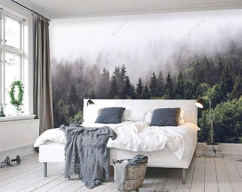 Misty forest scene mural, Mountain forests mural, Forest Haze Wallpaper, Wall décor, Wall decal, Nursery and room décor, Wall art