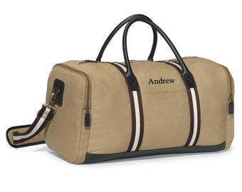 Personalized Luggage Bag - Mens Duffel Bag - Small Suitcase - Travel Bag - Khaki - Heritage Supply