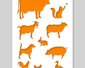 Farm Animals Silhouet Stencil A3 42 x 29,7 cm // 16,5 x 11,7 inch