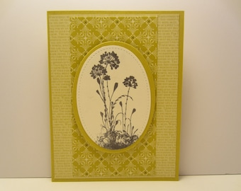 Stitched Oval With Flowers Blank Card