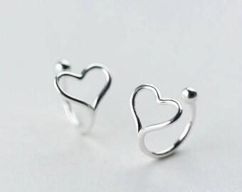 Dainty & Cute 925 Sterling Silver Wrap Around Heart Ear Cuff - No Piercings Needed