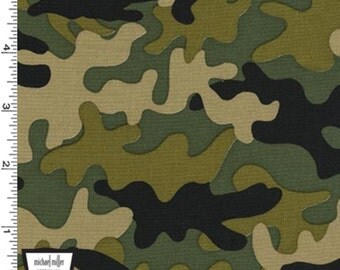 Traffic Jam - Little Camo Fabric - Olive - Sold by the 1/2 Yard