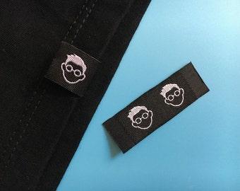 300 Hem labels, Custom Woven Cothing Label, Hem Tag Labels, Damask woven hem label, Shirt hem label, Hat Label, Craft Label, Brand Label