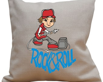 Rock And Roll Boy Character Rock Star Music Band Celebrity Cushion Cover Pad