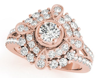 Diamond Compass Double Halo Ring In Rose Gold