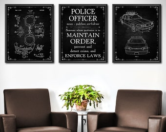 Police Officer Gifts Patent Print Set of 3 - Police Gifts - Police Officer Decor - Police Officer Sign - Police Officer Wife - 1840