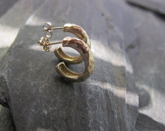 """Gold hoops earrings, gold plated bronze, """"Anita"""" made in France, handcrafted."""