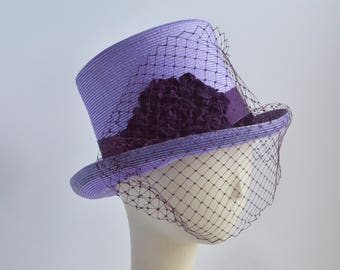 774- Purple Top Hat with veiling
