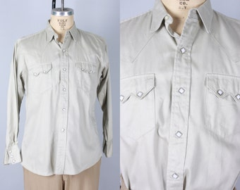 """Vintage 1940s Men's Shirt   40s 50s Grey Gabardine """"Old Kentucky"""" Western Shirt with Square Snaps   Large"""
