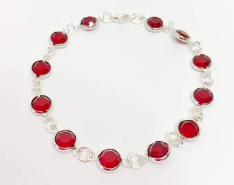 Red Swarovski Crystal Bracelet Red Bridesmaid Gift Swarovski Channel Jewelry Red Bridal Party Gift Red Wedding Bracelet Mother of the Bride